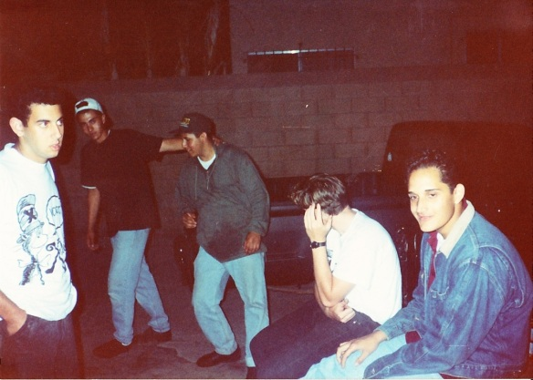 The sound system crew after the party. Frank C is clearing the premises of any evil doers! hahaa