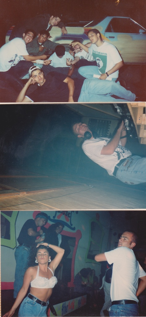 (clockwise from top left) 1. Frank C and the crew posing by 'the drunk guy' at X House 2. Dj Dan 3. Gettin' down at X House