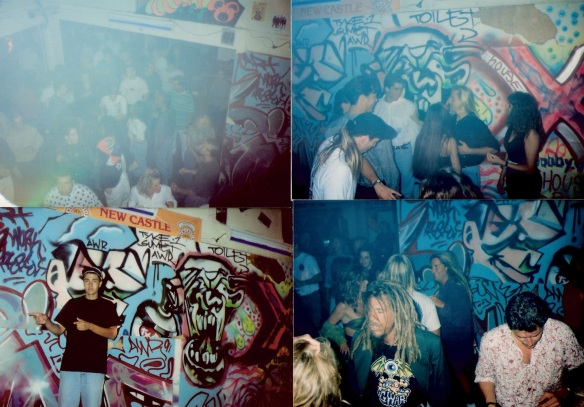 (clockwise from top left) 1. X House crowd 2. X House crowd 3. X House dread 4. Frank C taking charge at X House :)